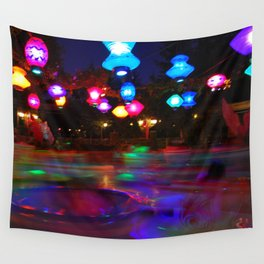 Teacups Blur at Night Wall Tapestry