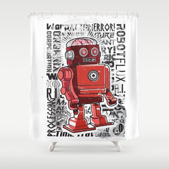 Robot Flux Shower Curtain