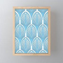 Art deco,deco,blue,white,elegant,chic,fan pattern, vintage,art nouveau,nelle epoque,victorian,beauti Framed Mini Art Print