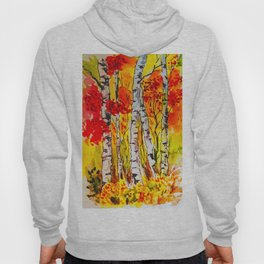 Autumn watercolour birch trees Hoody