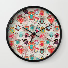 pattern with colorful owls on cream background Wall Clock