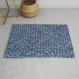 Blue Burlap Textile Rug