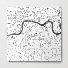 London White on Gray Street Map Metal Print