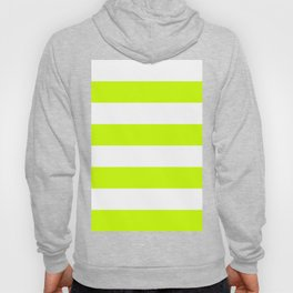 Wide Horizontal Stripes - White and Fluorescent Yellow Hoody