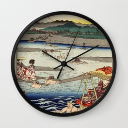 Hiroshige - 36 Views of Mount Fuji (1858) - 26: The Ōi River between Suruga and Totomi Provinces Wall Clock