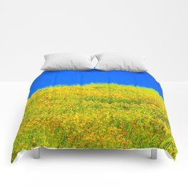 yellow poppy flower field with green leaf and clear blue sky Comforters