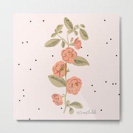 Modern Pink Floral Print Metal Print
