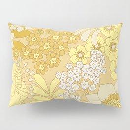 Yellow, Ivory & Brown Retro Floral Pattern Pillow Sham