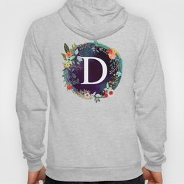 Personalized Monogram Initial Letter D Floral Wreath Artwork Hoody