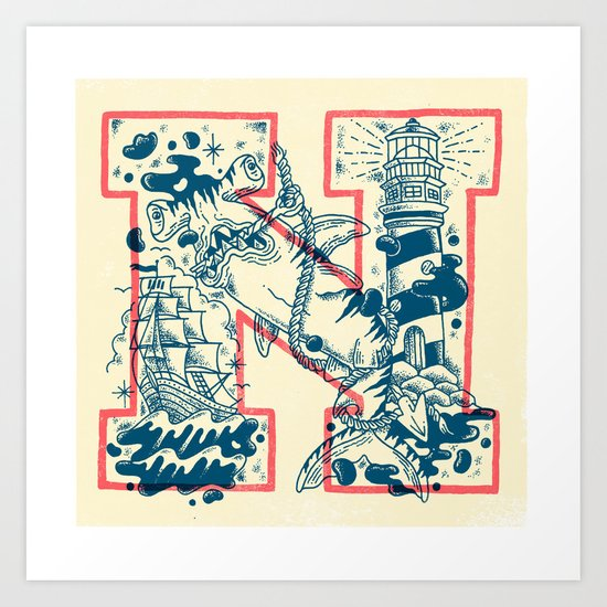 N for Nautical Art Print