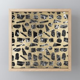Black white faux gold geometrical marble shapes Framed Mini Art Print