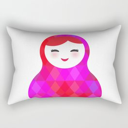 Russian doll matryoshka screw up one's eyes with bright rhombus on white background, pink colors Rectangular Pillow
