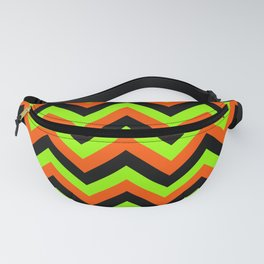 Green Orange and Black Chevrons Fanny Pack