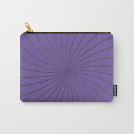 3D Purple and Gray Thin Striped Circle Pinwheel Digital Graphic Design Carry-All Pouch