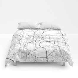 Dortmund Map, Germany - Black and White Comforters