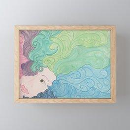 Higher Self Curly Rainbow Hair Framed Mini Art Print