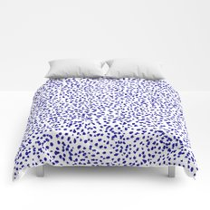 Vonnie - abstract minimal indigo blue dalmatian dots brushstrokes animal print monochromatic print Comforters