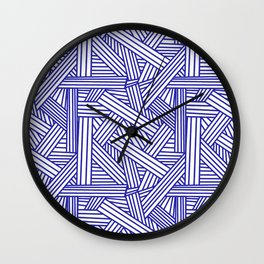 Sketchy Abstract (Navy Blue & White Pattern) Wall Clock