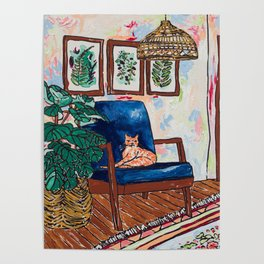 Ginger Cat on Blue Mid Century Chair Painting Poster