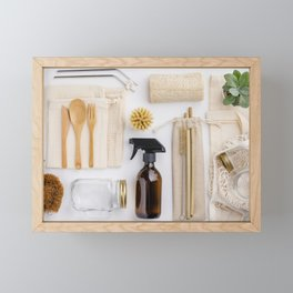 zero waste cleaning and beauty products Framed Mini Art Print