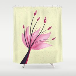 Pink Abstract Water Lily Flower Shower Curtain