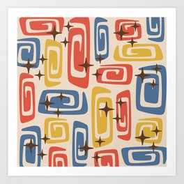 Mid Century Modern Cosmic Galaxies 436 Red Yellow and Blue Art Print