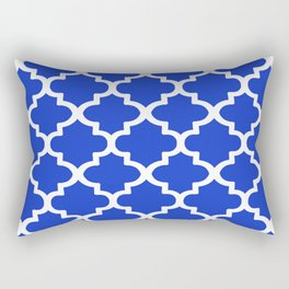 White Quatrefoil Pattern Outline With Royal Blue Background Rectangular Pillow