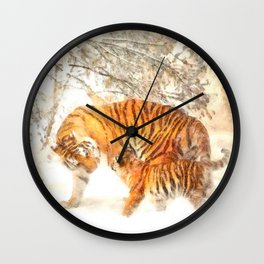 Siberian Amur Tigers Wall Clock