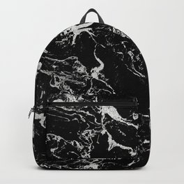Modern silver black marble pattern Backpack
