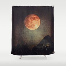 Moon over Dark Mountains Shower Curtain