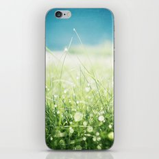 Dew Nature Photography, Green Blue Morning Dew Sparkle, Colorful Grass Photography iPhone & iPod Skin