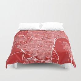 Philadelphia Map, USA - Red Duvet Cover