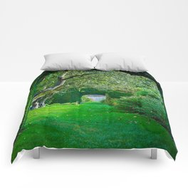 Green plant arches in English countryside garden Comforters