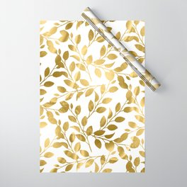 Gold Leaves on White Wrapping Paper