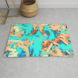 splash painting texture abstract background in blue and orange Rug