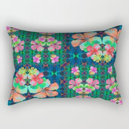 Retro Magic Hawaiian Floral Print Rectangular Pillow