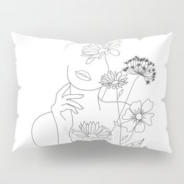 Minimal Line Art Woman with Flowers III Pillow Sham
