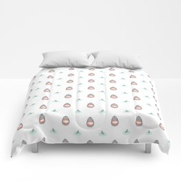 Shark Heads & Fins in Grey on White With Aqua Ripples Comforters