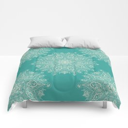 Teal and Lace Mandala Comforters