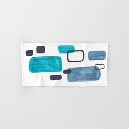 Mid Century Modern Abstract Minimalist Art Colorful Shapes Vintage Retro Style Turquoise Blue Grey Hand & Bath Towel