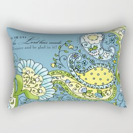 Hand Drawn Paisley Floral, Flower n Leaf Scroll Inspirational Text Rectangular Pillow