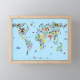Animal Map of the World Framed Mini Art Print