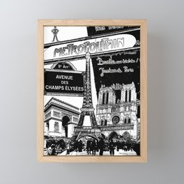 Black-and-White Paris Collage Framed Mini Art Print
