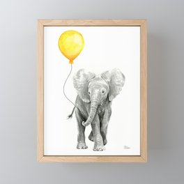 Elephant Watercolor Yellow Balloon Whimsical Baby Animals Framed Mini Art Print