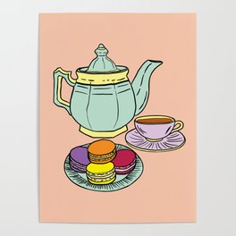 Tea and Macaroons Illustration Poster