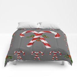 RED-WHITE  CHRISTMAS CANDY CANES HOLLY BERRIES Comforters