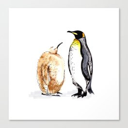 King Penguin and Chick Canvas Print
