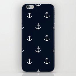 Dark Blue Anchor Pattern iPhone Skin