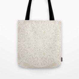 White Lace Mandala on Antique Ivory Linen Background Tote Bag