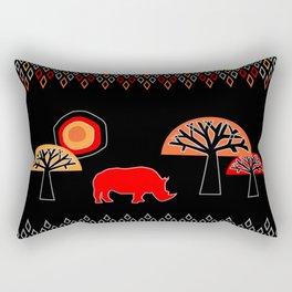 African Rhino (Hot colors) Rectangular Pillow